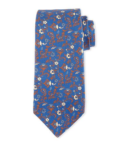 Antique Floral-Print Silk Tie, Blue