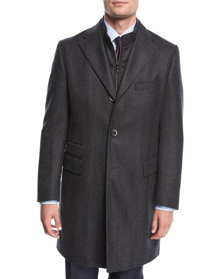 Single-Breasted Herringbone Wool Top Coat
