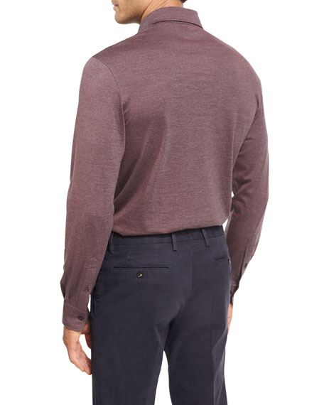 Fine-Stripe Wool-Cotton Long-Sleeve Polo Shirt