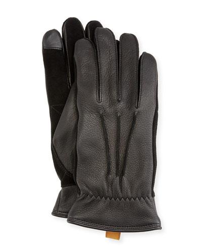 Men's 3-Point Leather Smart Gloves