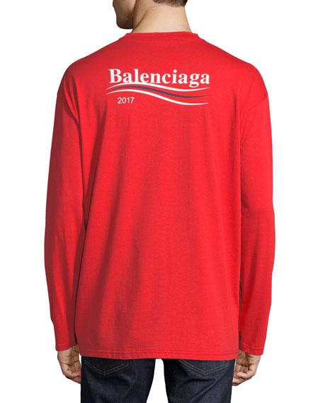 91d628aea1f6 Balenciaga Long-Sleeve Campaign Logo T-Shirt