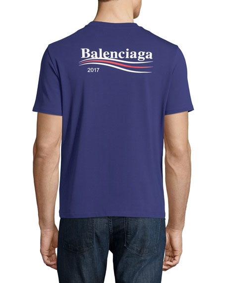 f25ca85f8209 Balenciaga Short-Sleeve Campaign Logo T-Shirt, Blue