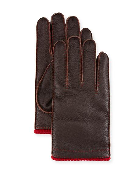 Kiton Cashmere-Lined Deerskin Gloves