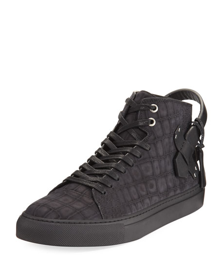 Men's 100mm Clean Alligator-Embossed Nubuck Mid-Top Sneakers