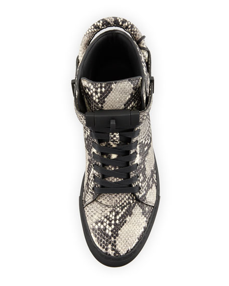 Men's 100mm Exotic Python-Embossed Leather Mid-Top Sneakers