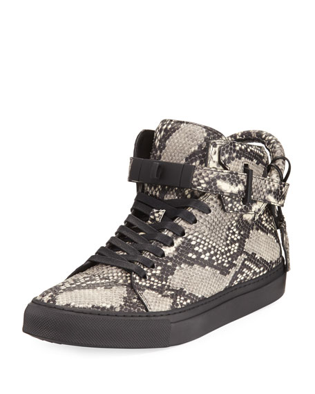 100mm Exotic Python-Embossed Leather Mid-Top Sneaker