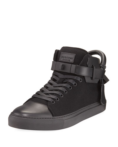 100mm Wool Mid-Top Sneaker, Black