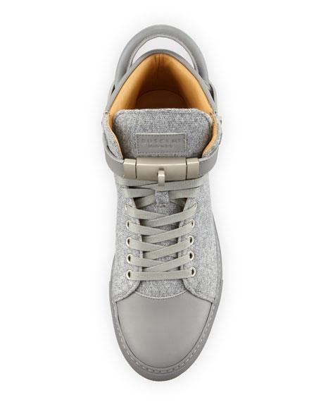 100mm Wool Mid-Top Sneaker, Medium Gray