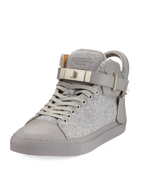 Buscemi 100mm Wool Mid-Top Sneaker, Medium Gray