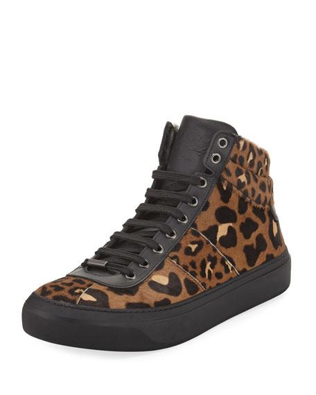 Jimmy Choo Leopard-Print Calf Hair High-Top Sneaker