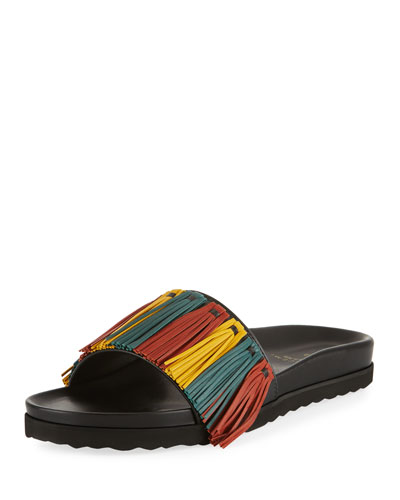 Multicolor Fringe Leather Slide Sandal