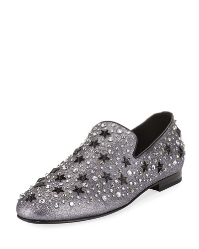 Men's Star & Crystal Studded Glitter Slipper