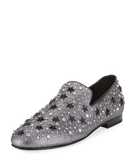 Men's Star & Crystal Studded Glitter Slipper
