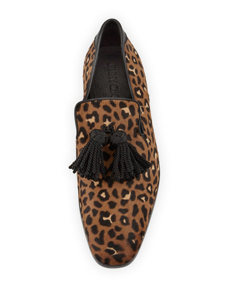 Foxley Leopard-Print Calf Hair Tassel Loafer