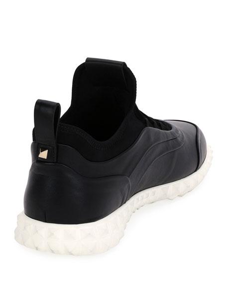 Rockstud Leather Trainer Sneaker
