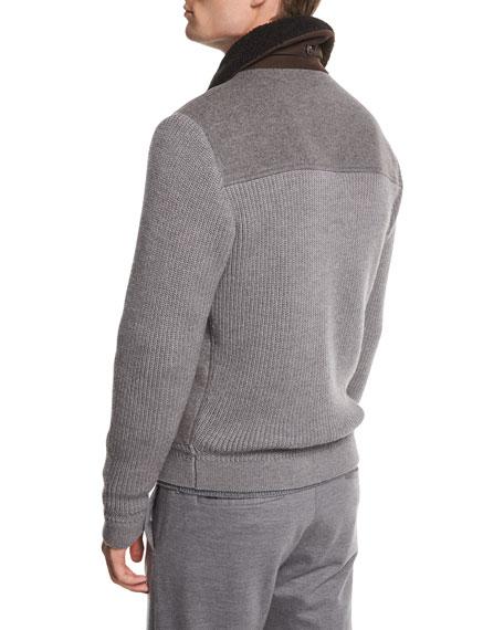 Ermenegildo Zegna Zip-Front Cashmere Wool Bomber Jacket w  Shearling ... 91ea80ebb07