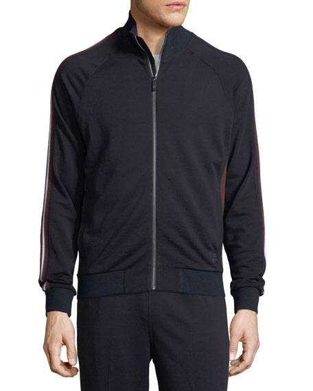 Techmerino Stripe-Sleeve Full-Zip Sweatshirt