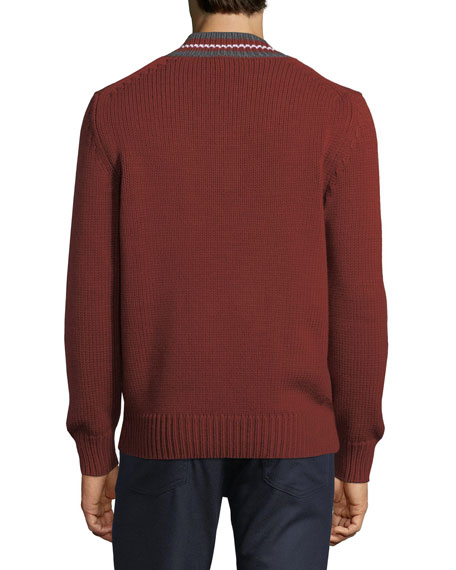 Stripe-Neck Wool Sweater
