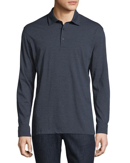 Fine-Stripe Long-Sleeve Polo Shirt