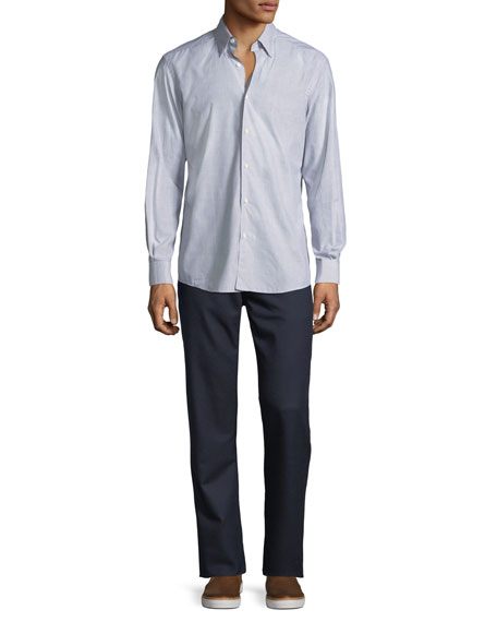Stretch-Flannel Five-Pocket Pants, Medium Blue