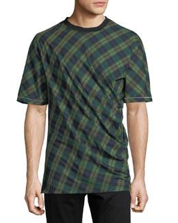 Draped Plaid Crewneck T-Shirt