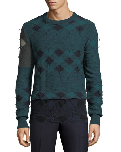 Frayed Patchwork Argyle Wool Sweater