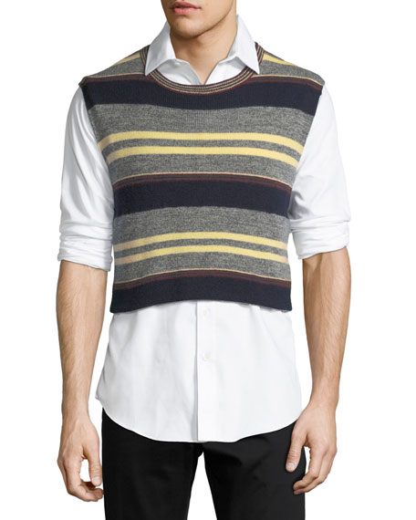 Striped Wool Cropped Sweater Vest
