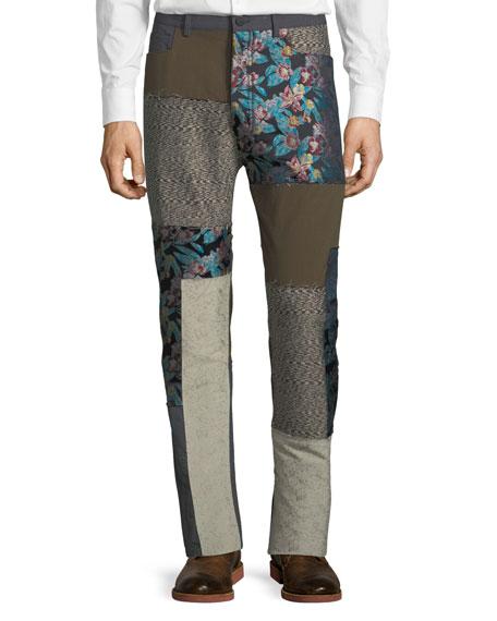 Five-Pocket Floral-Patchwork Pants