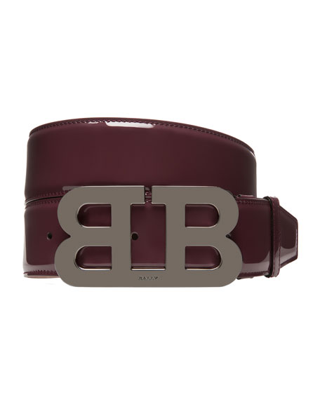 Bally Mirror B Patent Leather Belt, Red