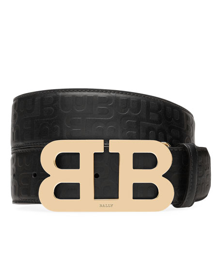 Mirror B Stamped Leather Belt, Black