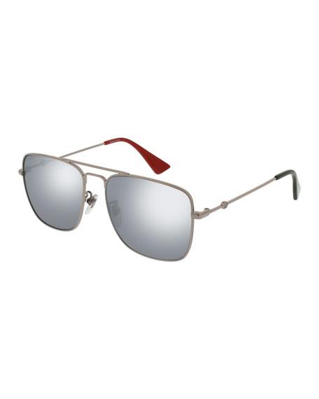 Mirrored Square Aviator Sunglasses, Dark Gray