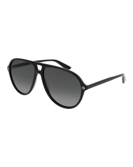 Oversized Acetate Aviator Sunglasses, Black/Gray