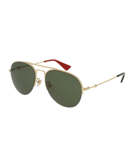 Gucci Half-Rim Metal Aviator Sunglasses, Gold