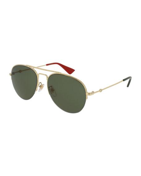 Half-Rim Metal Aviator Sunglasses, Gold