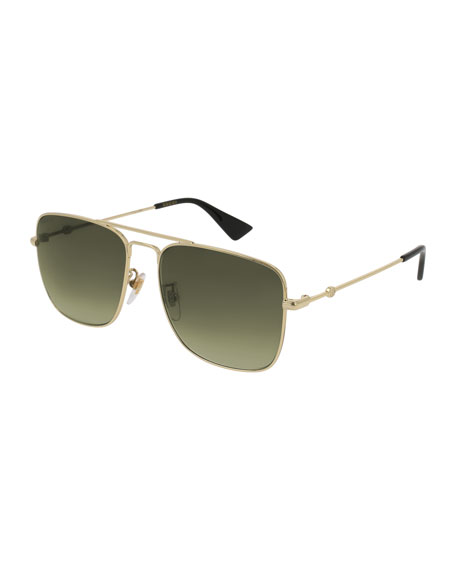 Gucci Polarized Square Aviator Sunglasses, Gold