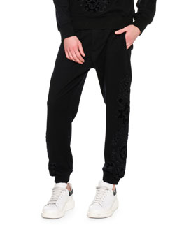 Flocked-Embellishment Sweatpants