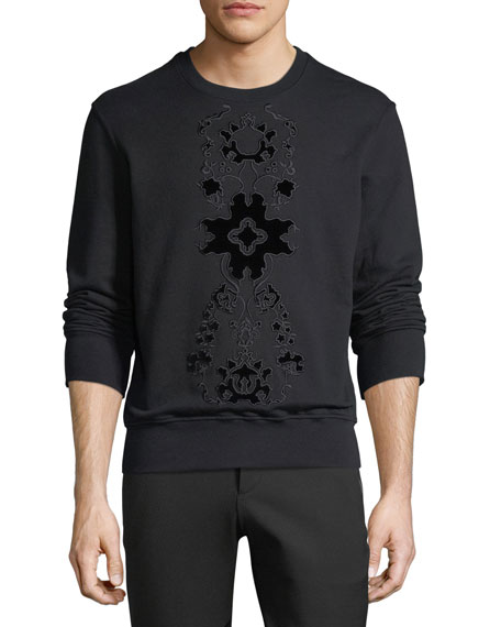 Flocked Velvet-Pattern Sweatshirt