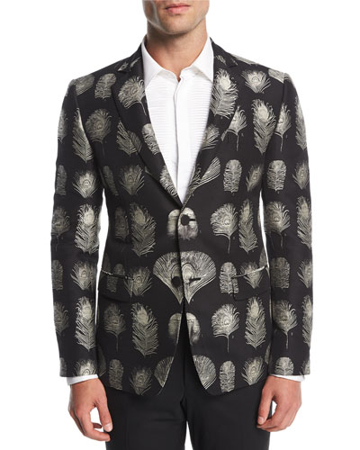 Feather-Print Jacquard Evening Jacket