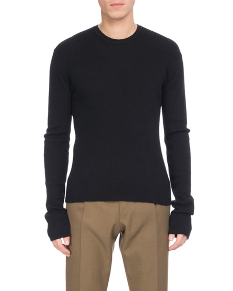 Ribbed Cashmere Crewneck Sweater, Black