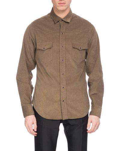 Corduroy Western Shirt, Bronze