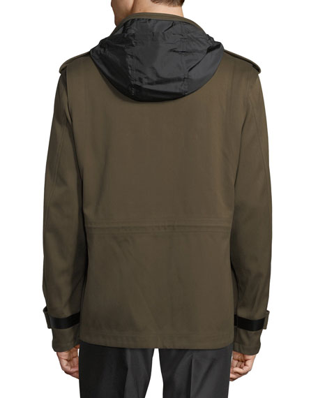 Leather-Trim Field Jacket