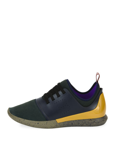 Avro Leather & Neoprene Trainer Sneaker, Blue