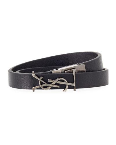 Men's Leather Wrap Bracelet w/ Logo