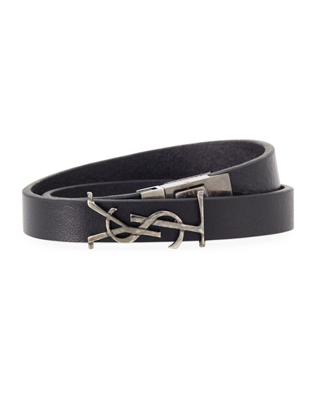 Saint Laurent Mens Leather Wrap Bracelet w/ Logo YHuP7OiU9