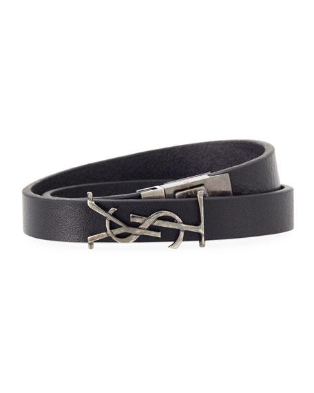 Saint Laurent Men's Leather Wrap Bracelet w/ Logo