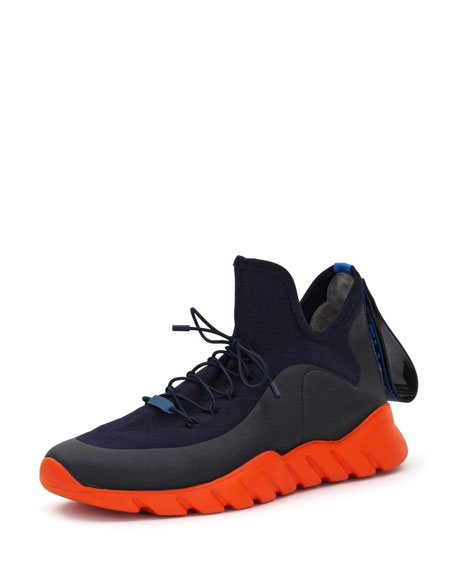 Fendi Men's Runway High-Top Scuba Sneakers