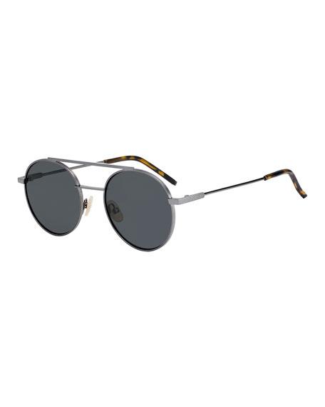 Air Men's Circular Metal Sunglasses, Dark Gray