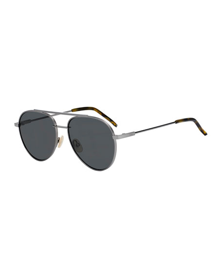 Air Men's Metal Aviator Sunglasses, Dark Gray