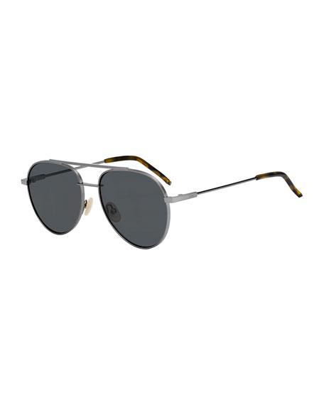 Air Men's Metal Aviator Sunglasses, Dark Gray