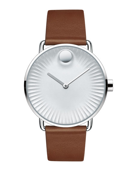 40mm Edge Watch with Leather Strap, Brown/Gray
